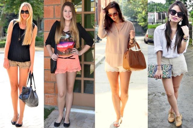 lace shorts + sapatilhas