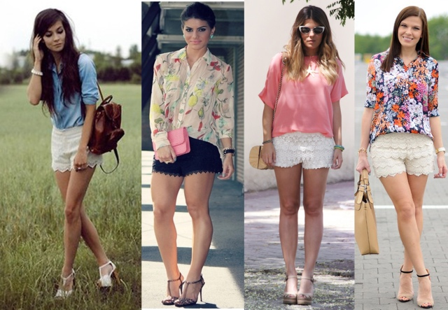 shorts renda + salto