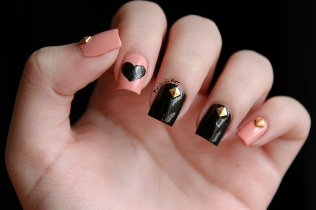 studs and hearts nail art 1